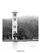 Pen And Ink Drawing Prints - FURMAN TOWER - Architectural Renderings Print by Andrew Wells