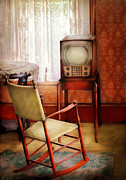 Old Tv Prints - Furniture - Chair - The Invention of Television  Print by Mike Savad