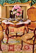 Cups Framed Prints - Furniture - Chair - The Tea Party Framed Print by Mike Savad
