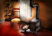 Antique Wood Burning Stove Prints - Furniture - Chair - Where she spent most of her days Print by Mike Savad