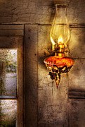 Cabin Window Posters - Furniture - Lamp - Kerosene Lamp Poster by Mike Savad