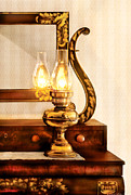 Kerosene Lamps Prints - Furniture - Lamp - The bureau and lantern Print by Mike Savad