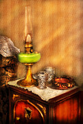 Oil Lamp Metal Prints - Furniture - Lamp - The Gas Lamp Metal Print by Mike Savad