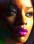 Bold Digital Art Originals - Fuschia by Byron Fli Walker