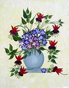 Forget Me Not Paintings - Fushias and Forget-me-nots by Barbara Griffin