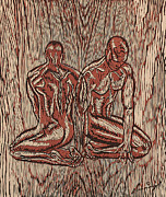 Wood Engraving Reliefs - Fusion by Maria Arango