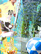 Ball Mixed Media Framed Prints - Futbol Soccer Player Print Framed Print by Adspice Studios