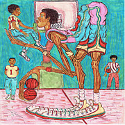 Wnba Mixed Media Posters - Futue Star Poster by Richard Hockett