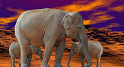 Elephants Digital Art - Future Generations by Robert Orinski