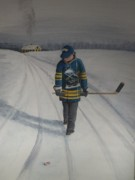 Hockey Painting Prints - Future Saber Print by Ron  Genest