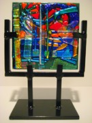 Science Fiction Glass Art Framed Prints - Future Shock Framed Print by Mark Lubich