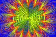Futuristic Disc Blue Red And Yellow Fractal Flame Print by Keith Webber Jr