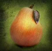 Nina Bradica Framed Prints - Fuzzy Pear Framed Print by Nina Bradica
