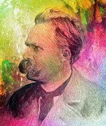 Greek School Of Art Painting Prints - F.W. Nietzsche Print by Taylan Soyturk