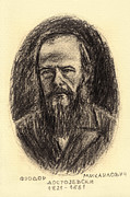 Novelist Drawings Framed Prints - Fyodor Mikhailovich Dostoyevsky 1821-1881 Pencil Drawing Of Russian Writer Framed Print by Nenad  Cerovic