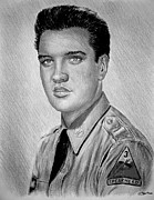 Fine American Art Drawings Posters - G I Elvis  Poster by Andrew Read