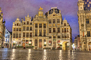 Belgium Photo Metal Prints - Gabled Buildings in Grand Place Metal Print by Juli Scalzi