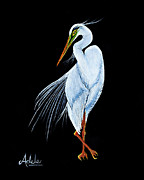 Egret Paintings - Gabriella by Adele Moscaritolo