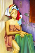 Shower Curtain Painting Prints - Gaby Print by Marlene Book