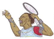 French Open Drawings Prints - Gael Monfils Print by Steven White