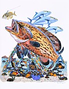 Nassau Grouper Framed Prints - Gag Grouper Framed Print by Carey Chen