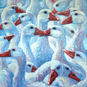Geese Paintings - Gaggle Of Geese by Gill Bustamante