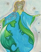 Star Drawings Posters - Gaia Gaea by jrr Poster by First Star Art