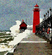 Grand Haven Prints - Gail Warnings 3 Print by Robert Pearson
