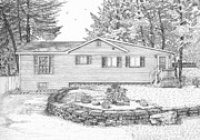 Technical Drawings Drawings Prints - Gails Cottage Print by Michelle Welles