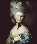 Portrait Of Woman Photo Framed Prints - Gainsboroughthomas 1727-1788. A Woman Framed Print by Everett