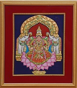Hindu Goddess Mixed Media Metal Prints - Gaja Lakshmi in Tanjore art Metal Print by Vimala Jajoo