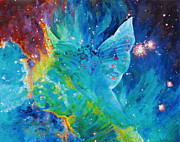 Galactic Painting Metal Prints - Galactic Angel Metal Print by Julie Turner