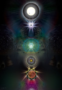 Solar Eclipse Digital Art Posters - Galactic Chakra Alignment Poster by Frederick Brendecke