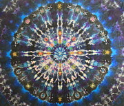 Tie Dye Tapestries - Textiles Metal Prints - Galactic Kalaidascope Metal Print by Courtenay Pollock