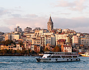 Passenger Ferry Prints - Galata Skyline 03 Print by Rick Piper Photography