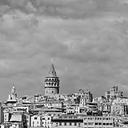 Byzantine Art - Galata tower mono by Antony McAulay