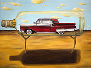 Red Wine Bottle Posters - Galaxie In A Bottle Poster by Leah Saulnier The Painting Maniac