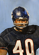 Michael Pattison Posters - Gale Sayers Poster by Michael  Pattison