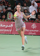 Professional Tennis Player Prints - Galina Voskoboeva in Doha Print by Paul Cowan