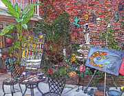 French Door Paintings - Gallery Courtyard 442 by John Boles