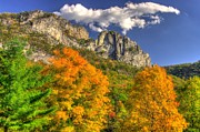 Pendleton County Posters - Galloping Cumulus Above Seneca Rocks - Seneca Rocks National Recreation Area WV Autumn Mid-Afternoon Poster by Michael Mazaika