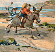 Kids At Beach Prints - Galloping Donkey At The Beach Print by Unknown