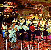 Reno Nevada Painting Prints - Galloping Gambling Grannies Cut A Casino Rug Heading Home With Their Goody Bag Of Winning Quarters Print by Carole Spandau