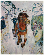 Edvard Munch Posters - Galloping Horse Poster by Edvard Munch