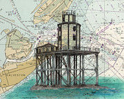 Galveston Paintings - Galveston Jetty Lighthouse TX Nautical Chart Map Art by Cathy Peek