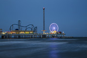 Roller Coaster Posters - Galveston TX Pier Poster by John McGraw