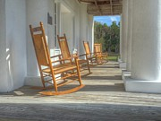 Rocking Chairs Photos - Gamble Mansion Porch and Chairs by William Ragan