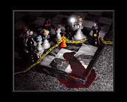 Murder Metal Prints - Game - Chess - Its only a Game Metal Print by Mike Savad