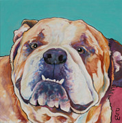 Dog Portraits Pastels Framed Prints - Game Face   Framed Print by Pat Saunders-White