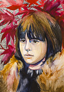 Watercolor Drawings Framed Prints - Game of Thrones Bran Stark Framed Print by Slaveika Aladjova